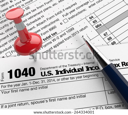 close up view of 1040 form for usa taxes, with a pen and a red pin (3d render) - stock photo