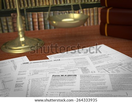 close up view of forms for usa taxes, a scales and a library on background, concept of taxes and laws  (3d render) - stock photo