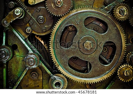 close up view of gears from mechanism