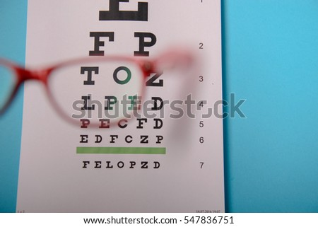 close up view of glasses lying on snellen test chart