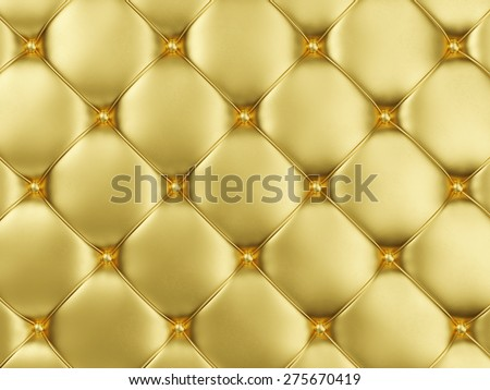 Close-up View of Golden Leather Upholstery Background