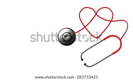 Close up view of grey stethoscope on white back for adv or others purpose use - stock photo