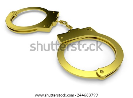 close-up view of handcuffs on white background (3d render) - stock photo