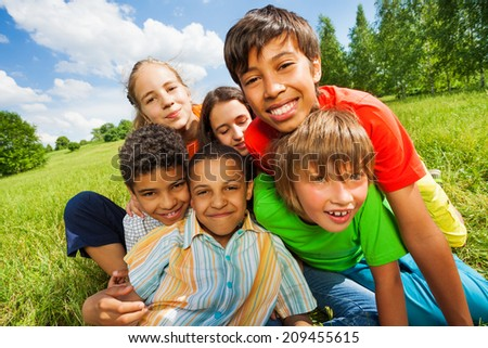 Close up view of happy smiling kids - stock photo
