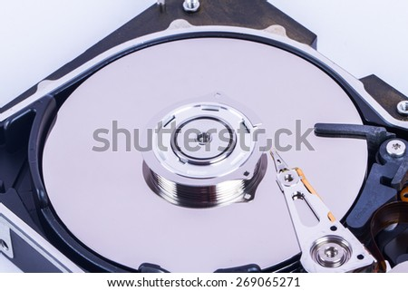 Close up view of hard disk.