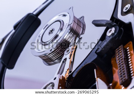 Close up view of hard disk. - stock photo