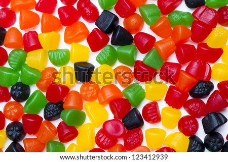 Close-up view of hard jelly candies.