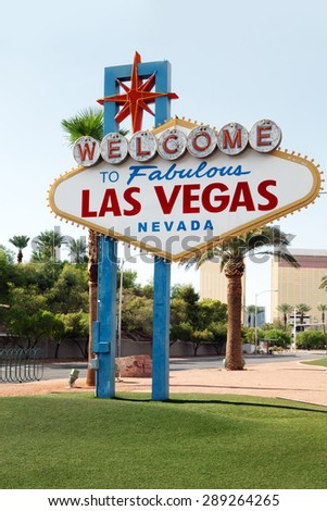 close up view of las vegas neon sign on summer background - stock photo