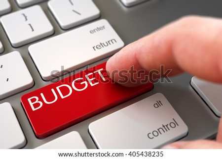 Close Up view of Male Hand Touching Budget Computer Key. Hand Pushing Budget Red Modernized Keyboard Key. Budget - Modern Keyboard Concept. 3D Illustration. - stock photo