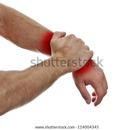 Close up view of male hands with wrist pain. Isolated on white. - stock photo