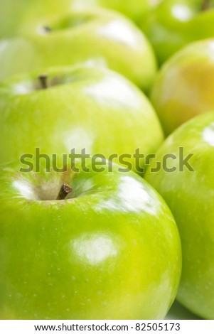 Close up view of many fresh green apples - stock photo