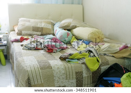 Close up view of Messy Bedroom - stock photo