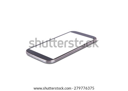 Close up view of mobile phone with blank white screen, isolated on white background.