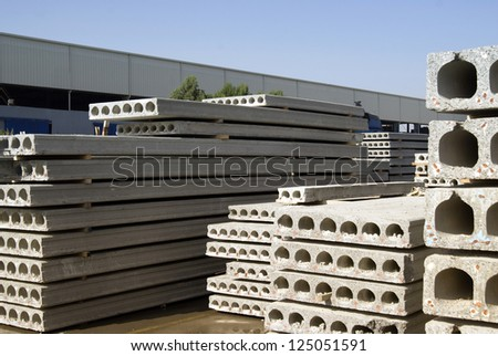 Close up view of modern contraction site with concrete plates. - stock photo