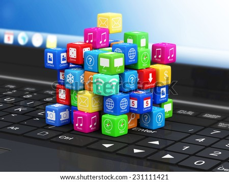 Close-up View of Modern Laptop with Application Cubes - stock photo