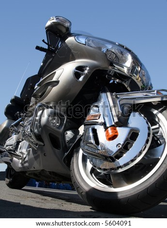 Close up view of motorcycle - stock photo