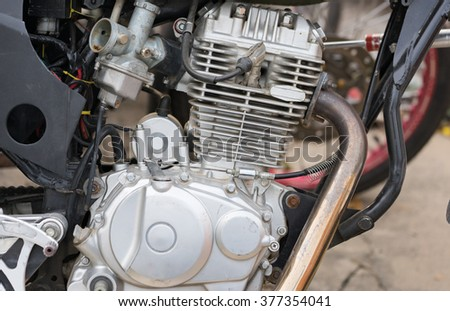 Close-up view of Motorcycle engine using as background or wallpaper.