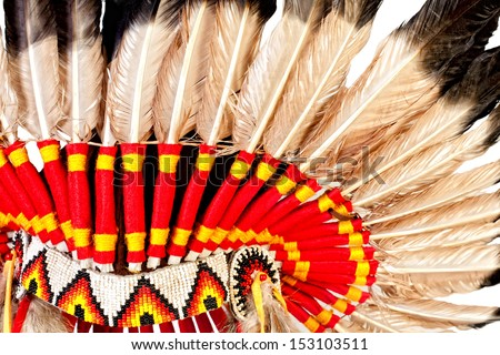 Close up view of native american indian chief headdress (indian chief mascot, indian tribal headdress, indian headdress)