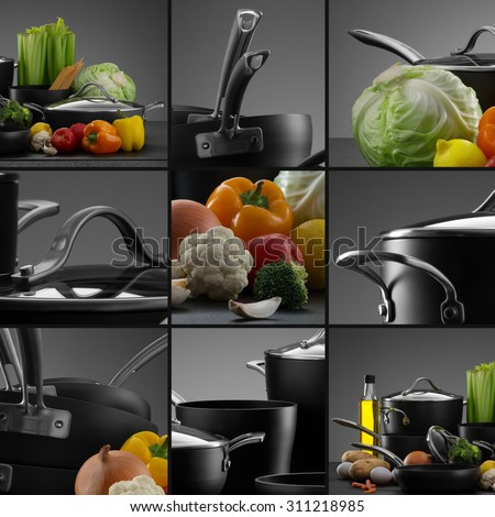 close up view of nice cookware set with some vegetables on grey color back  - stock photo
