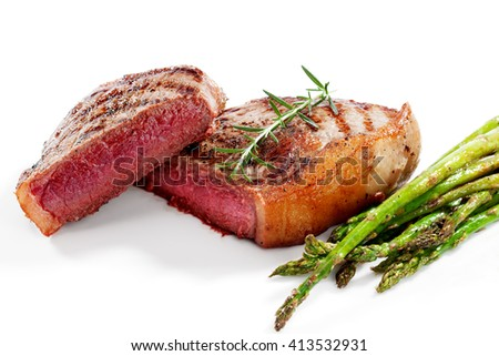 close  up view of nice yummy fresh steak on white back - stock photo