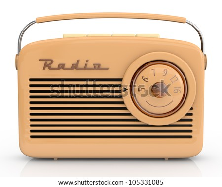 close up view of one beautiful vintage radio (3d render) - stock photo