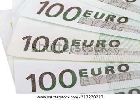 Close up view of one hundred euro money banknotes. - stock photo