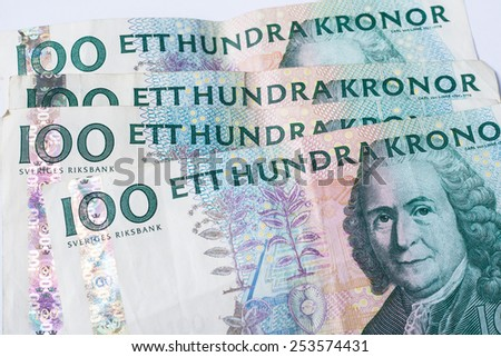 Close up view of one hundred swedish krona banknotes - stock photo