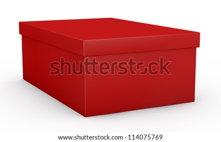 close up view of one red shoe box (3d render)