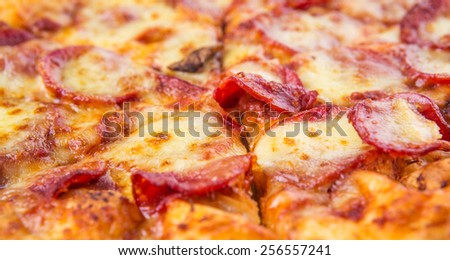 Close up view of pepperoni and cheese pizza