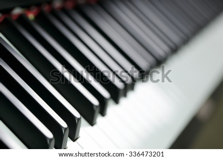 Close up view of piano key forming background