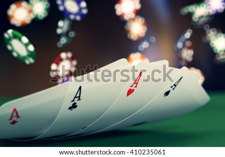 close up view of poker cards with fiches on background (3d render) - stock photo