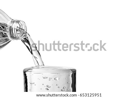 Close-up view of Pouring water over glass on white background with space for text