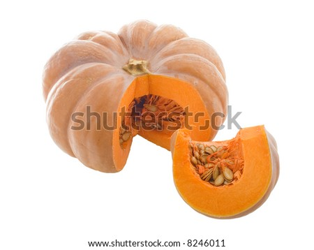 Close-up view of pumpkin isolated on white - stock photo
