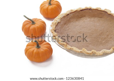 Close-up view of pumpkins by pumpkin pie against white background. - stock photo