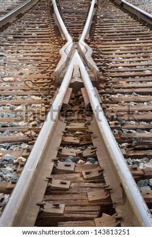 Close up view of railway tracks - stock photo