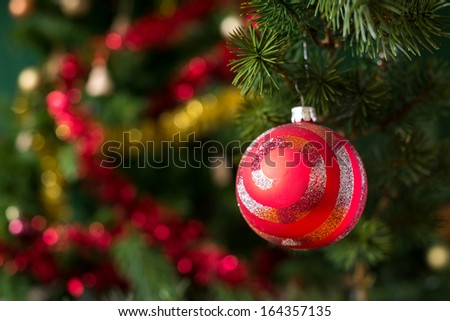 Close-up view of red christmas ball on tree. - stock photo