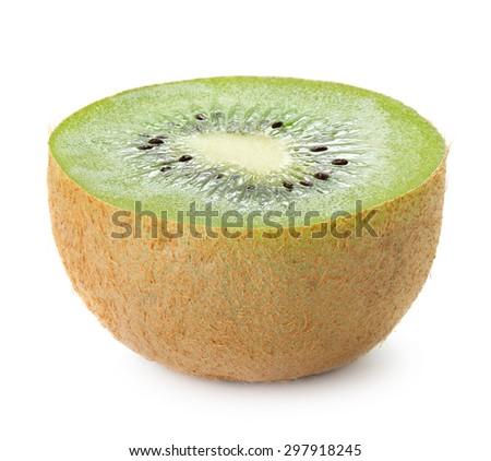 close-up view of ripe kiwi on white background - stock photo