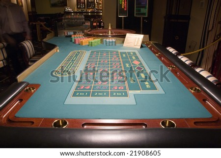 close-up view of roulette table in a modern casino - stock photo