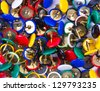 Close-up view of scattered thumbtacks - stock photo