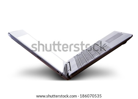 Close up view of single laptop with blank screen, isolated on white background. - stock photo