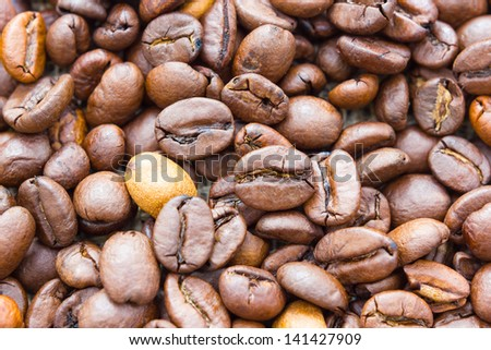Close up view of some coffee beans