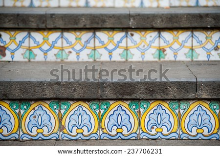 Close-up view of some steps of Caltagirone staircase with their typical colored ceramic tiles - stock photo