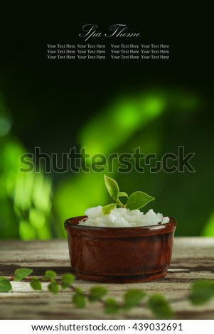 close up view of spa theme objects on color back. Banner, extra space for your text. - stock photo