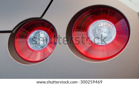 Close-up view of sports car rear light. - stock photo