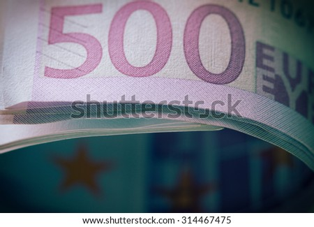 close-up view of stack of 500 Euro - stock photo