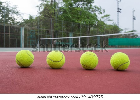 Close up view of tennis balls on the tennis court