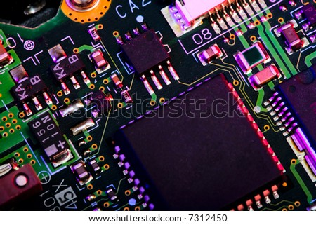 Close up view of the abstract microcircuit. - stock photo