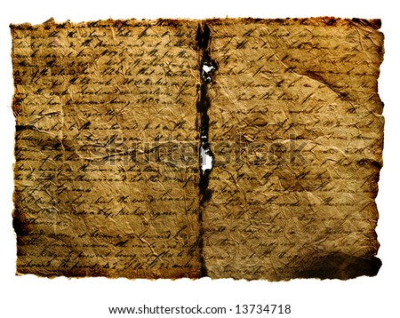 Close up view of the Ancient Manuscript isolated - stock photo