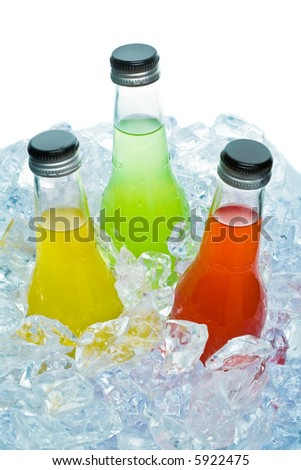 Close up view of the bottles in ice