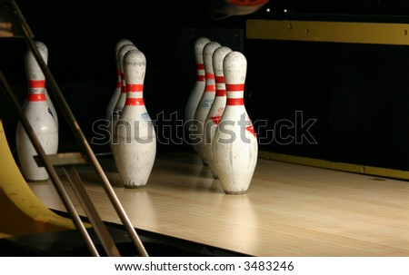 Close up view of the Bowling pins - stock photo